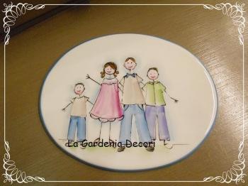 Targa decorativa Famiglia con due maschietti
