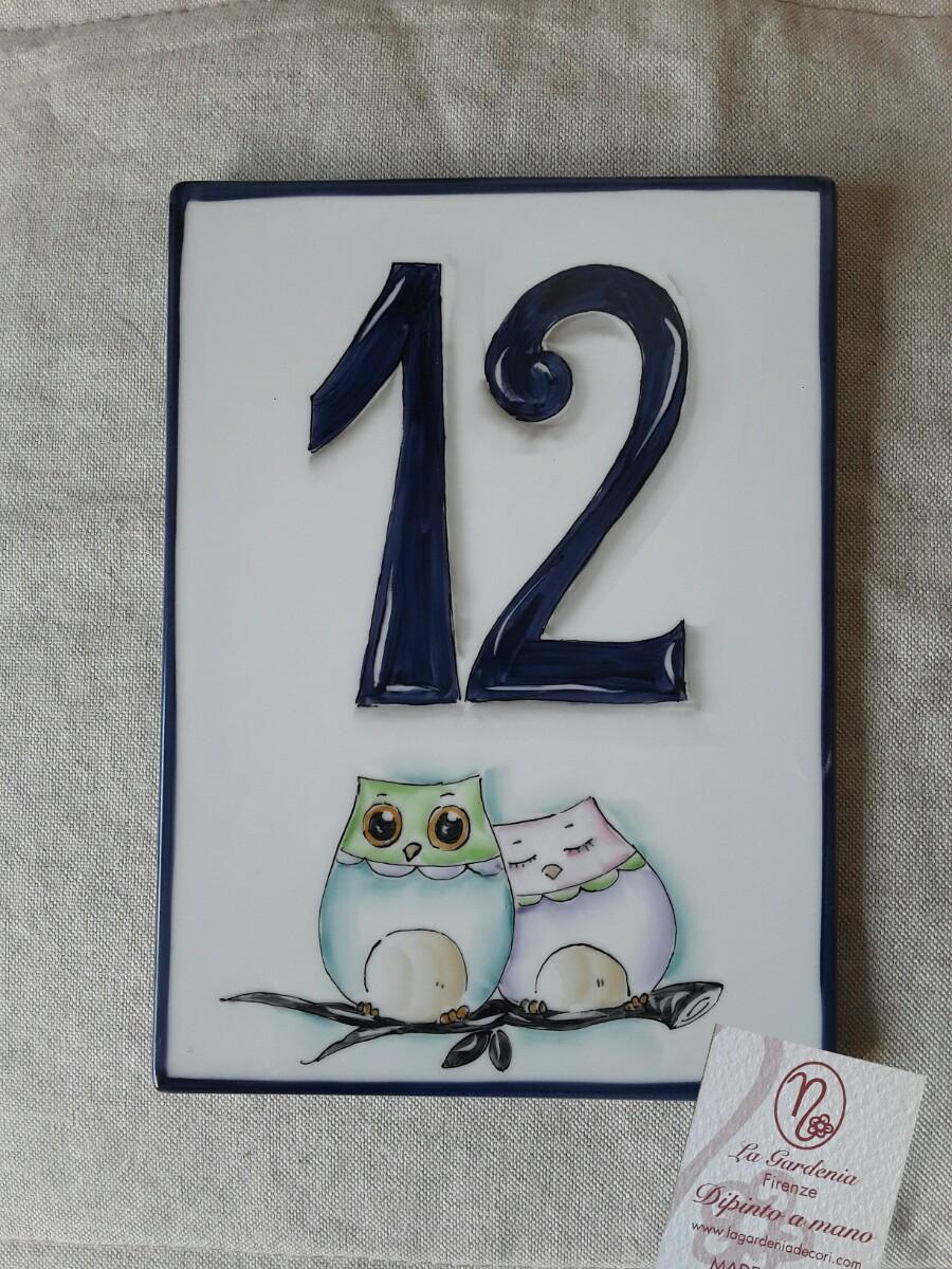 Numeri Civici In Ceramica.Numero Civico Gufetti La Gardenia Decorazioni Artistiche
