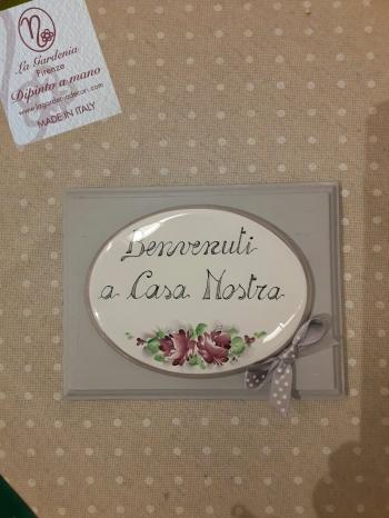 """Quadretto con rose"""" benvenuti a casa nostra"""""""