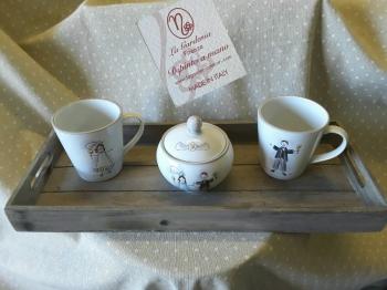Set per due sposi con vassoio in legno