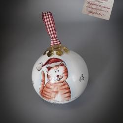 Palla di Natale 8 cm gatto