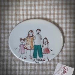 Targa ovale  famiglia con due bimbe