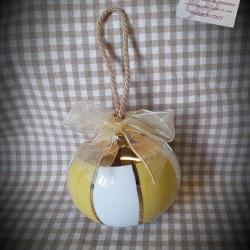 Palla di Natale righe gialle e oro