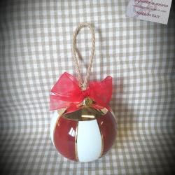 Palla di Natale righe rosse e oro