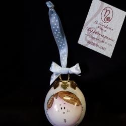 Palla di Natale 5 cm faccina bimbo