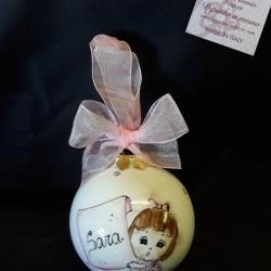 Palla di Natale con bimba e pergamena