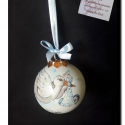 Palla di Natale con cicogna e bimbo