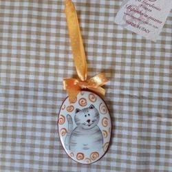 Pendente ovale con gatto